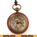 Retro Nostalgia Wood Crystal  Ball Pocket Manual Mechanical Watch Skeleton IW1497