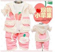 Baby girl suit kids 3 pc children long sleeve apple coat + t shirt+ pants girls' suits 1015 zss
