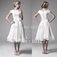 Hot Sales A Line Short Sleeves Tea-length Chiffon Girl Skirt Custom-made Wedding Dress--SMT139