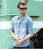 20123 new arrival,European style,men's shirts, jeans shirt,slim fit,fashion mens shirts, for men,100% cotton, free shipping~