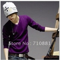 2013 new fashion  men's cotton V-neck casual sports south korea style fitness T-shirts freeshipping