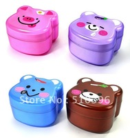 Cute cartoon animal plastic lunch box Insulation Student Bento Box.