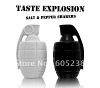 Free Shipping One set of 2 Taste Explosion Grenade Shaped Salt Shakers and Pepper Shakers
