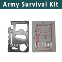 Free Shipping 11 in 1 wholesale Emergency Outdoor Multi Tool Army Survival Card Outdoor Sport Multi Tools Stainless Card