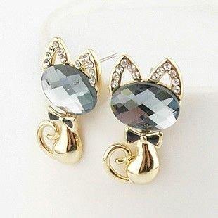 E7582 18K Gold Plating Korea cat black bowknot blue crystal diamond fashion promotion Studs Earrings Jewelry Free Shipping