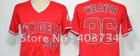 Free shipping-Los Angeles Angels #36 Weaver red/grey/black Fashion jersey,Angels jerseys,baseball jerseys