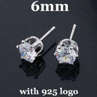 6mm 925 Sterling Silver Stud Earrings Zircon Stud Earrings CZ Stud Earrings With 925 Logo 20pairsDA003 Free Shipping