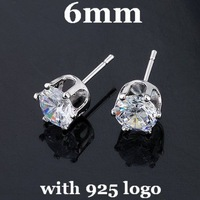 6mm 925 Sterling Silver Stud Earrings Zircon Stud Earrings CZ Stud Earrings With 925 Logo 20pairsDA003 Free Shipping