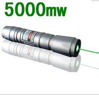 New 5000mw  Green laser flashlight  Green Laser Pointers Silver shell  / 5000 meters long-range / Adjustable focus