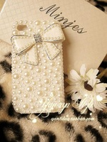 Free Shipping,New Butterfly BOW Fashion Handmade Bling Jewerly Diamond Rhinestone Crystal Hard Case Cover For iPhone 4 4G 4S