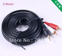 5meter 3.5mm Jack to 2 RCA Cable,Audio Cable,free shipping,YHK-EO068-2