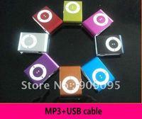500 pcs Clip mp3 music player with card slot mini mp3 player & 8 color wholesale+usb cable SL03b