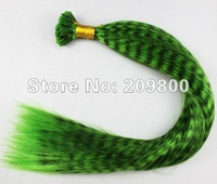 16''  100strands  Grizzly Stick tipped Feather Hair extensions synthetic hair , #green