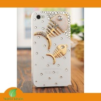 DESIGNER PHONE CASE-Vans Rhinestone Bling + Metal Fish Cell Phone Case For iPhone 4/4S, FREE SHIP