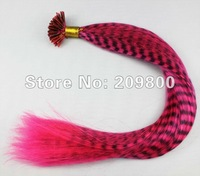 16''  100strands  Grizzly Stick tipped Feather Hair extensions synthetic hair , #deep pink