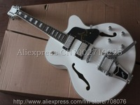 Hot Sell New White Nashville Falcon Electric Guitar with Silver Parts Bigsby No Case
