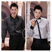 Free shipping 2014 new noble bow tie dress shirt long sleeve straight  men`s long-sleeved dress Performance shirt  black  ,white