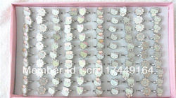 100 pcs/lots ,colors box packing,size adjustable,kids girl hello kitty ring rings ,cute lovely fashion cheap silver jewellery(China (Mainland))