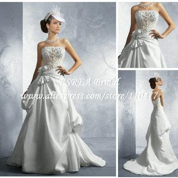 Vintage Design Strpless Empire A line Low Back Beaded Korean Wedding Dress MC080