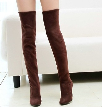 Fashion Jackboots Over The Knee Boots For Women/Faux Suede Upper Stretch Fabric Slim Boots  whoesale!Free DropShipping