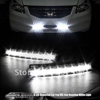 Freeshipping 24months 100% waterproof Universal led light White 8 LED Aux DRL Daytime Running Light Foglight car DRL