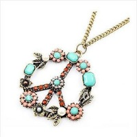 order 12pcs 20% off always sell good! fashion vintage peace sign chain lady's necklace.Wholesale! Free Shipping !