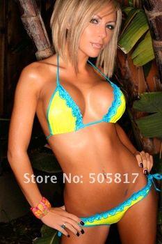 4 colors Free shipping Cute mini bikinis Sexy women VS lace bikini set bathing suit green orange yellow blue MZ4111