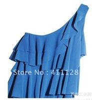 Inclined shoulder single shoulder falbala chiffon dress