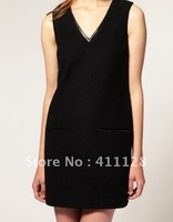 Cashmere imitation,V-neck sleeveless vest Woollen dress