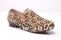 spiked black leather pumps black spikes shoes 2012 new arrival platform rivets low heels men&#39;s dress shoe