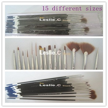 Freeshipping-15pcs Nail Art Design Brushes Gel Set Painting Draw Pen Polish/#BQ-16
