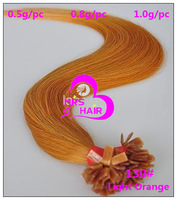 Fancy Dark Orange Fashion Remy Flat Tip Pre-bonded Hair Extension 130# 12&quot; 14&quot; 16&quot; 18&quot; 20&quot; 22&quot; 24&quot; 26&quot; 0.5g 0.8g 1.0g 500pcs/lot