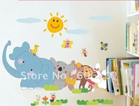 Removable Happy Animal Partner  Living room Decorative Wall Stickers,PVC Bathroom/Background Sticker--Free Shipping
