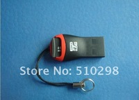 USB 2.0  TF SD cardreader  cell phone key strap boutique microSD high speed card reader  5 pcs/lot freeshipping