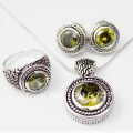 Free shipping Peridot cz jewelry set necklace earrings and ring jewelry set Round shaped antique silver jewelry set
