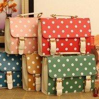 Latest women handbag, pretty new design dots print ladies messenger bags, small retro solid bag, bright color messenger bag