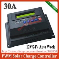 Free shipping,RoHS,CE approved ,brand new 12/24V 30A Solar system controller, Solar charge controller,