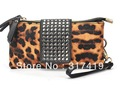 5PCS/LOT,New Rivet Leopard Women Clutch Bag,Ladies zipper leather Handbag, sexy Clutches Satchels purse Free Shipping