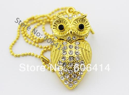 real 2G 4G 8G 16G 32G jewelry diamond owl necklace usb flash drive pen drive memory stick drop free shipping(China (Mainland))