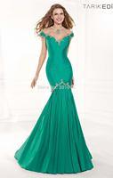 Glamorous sheer beaded off shoulder open back mermaid emerald green evening dress
