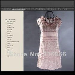 Free shipping 2012 New Fashion Junoesque Plus size 100% silk Dress, 3D flower Neck dress, short sleeve Wholesale Retail BF12-A58(China (Mainland))