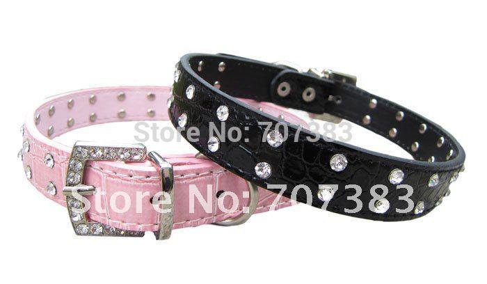 PU Leather 2 Row Rhinestone leather Dog Collar Diamante Pet Collars Blue Pink Red white black S M L(China (Mainland))