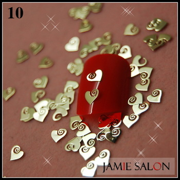 Simple Heart Nail Decals Gold Metallic Series Nail Decoration Sticker Cellphone Decoration 1000/pack