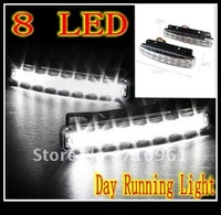 Free shipping  wholesale good quality  8 LED Universal Car Light DRL Daytime Running Head Lamp Super White