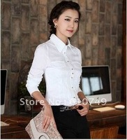 Free shipping New arrival Korean slim waist white cotton blouse female long-sleeved shirt female long sleeve