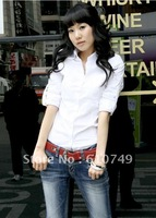 Free shipping New arrival Korean cotton slim waist ladies shirt blouse white long-sleeved shirt