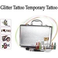 USA Dispatch Pro Body Art  Temporary tattoo kit 38 colors Deluxe Kit powder/stencil/glue/brush/Tweezers freeship USA warehouse