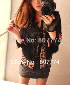 2013 New Hotsell Women Chiffon Leopard Blouse Patchwork Shirt Stand Colllar Long Sleeves Tops Thin M L XL Freeshipping #1018