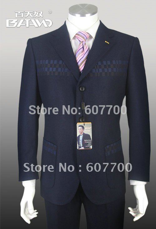 Black Pinstripe Suits Brand Name Suit Men Clothes Perfect For The Office Cut Slim shiny 100% wool FREE FAST SHIP(China (Mainland))