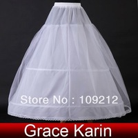 Free Shipping 1pcs/lot GK 2 Hoop White Wedding Bridal Girls Gown Dress Petticoats Underskirt Crinoline CL2706